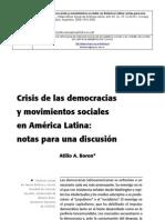 BORON - Crisis de La Democracia y Mov.sociales en a.latina - OSAL