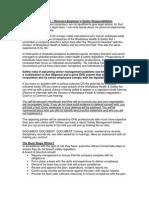 Directors-Employer's Safety Responsibilities