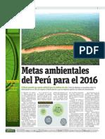 Metas Ambientales Del Perú Para El 2016