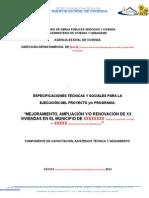 Especificaciones Tecnicas y Sociales Modelo 1 - Compra de Materiales Por La AEVIVIENDA I