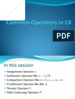 Common Operators in C#