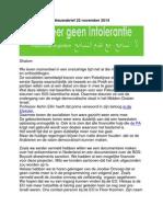 Nieuwsbrief 22 November 2014 tolereer geen intolerantie