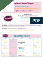 December 2014 Workout Schedule