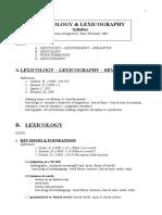 Lexicology & Lexicography