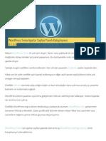 WordPress Tema Ayarlar Sayfası Paneli Kütüphanesi