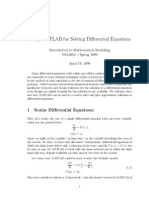 [] Using Matlab for Solving Differential Equations