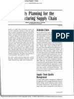 Quality Planning for the Manufacturing Supply Chain