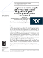 The Impact of Upstream Supply and Downstream Demand Integration on Quality Management and Quality Performance