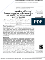 The Moderating Effect of Buyer-supplier Relationships on Quality Practices and Performance