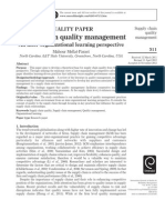 Supply Chain Quality Management an Inter-Organizational Learning Perspective
