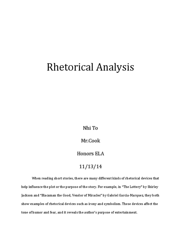 Rhetoricalanalysis Nhito Irony Plot Narrative