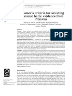 Customer's Criteria for Selecting an Islamic Bank Evidence From Pakistan