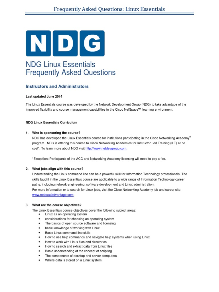 Ndg Linux Essentials Faqs Linux Computer File