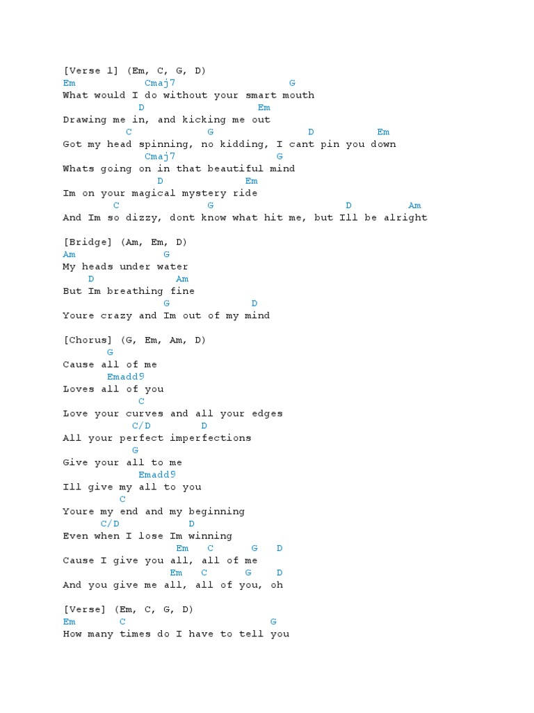 All of Me Chords   PDF   Song Structure   Recorded Music