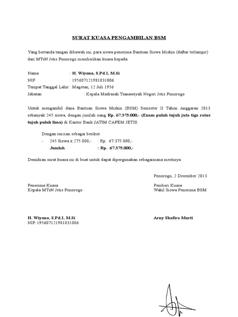 Pengambilan Blt Contoh Surat Kuasa Pengambilan Uang Bansos Di Kantor Pos Nusagates