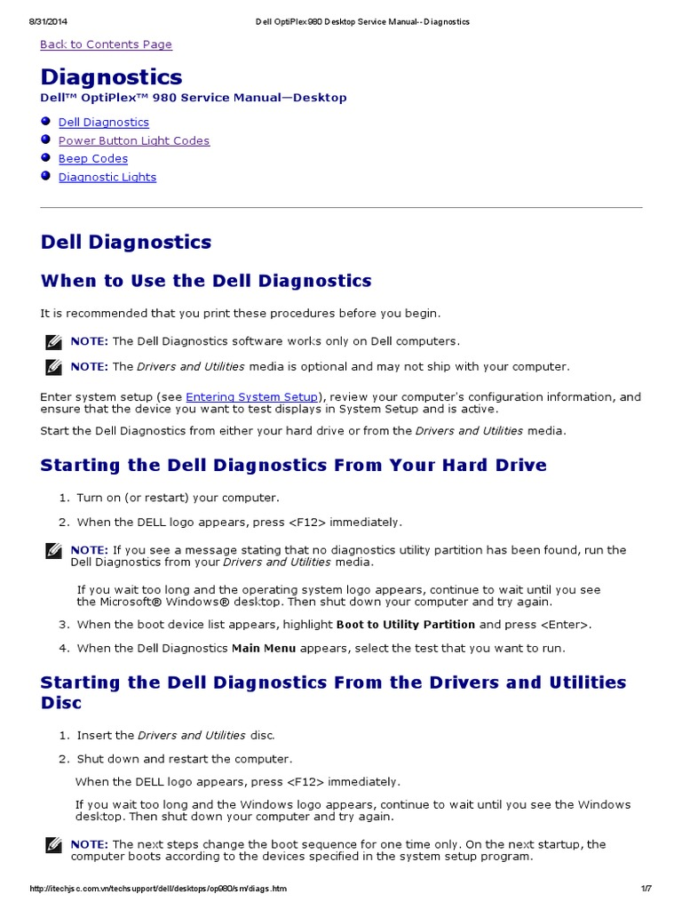 Dell OptiPlex 980 Desktop Service Manual--Diagnostics | Booting