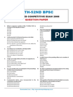 BPSC 48th-52nd BPSC Combined Competitive Exam 2008 Question Paper