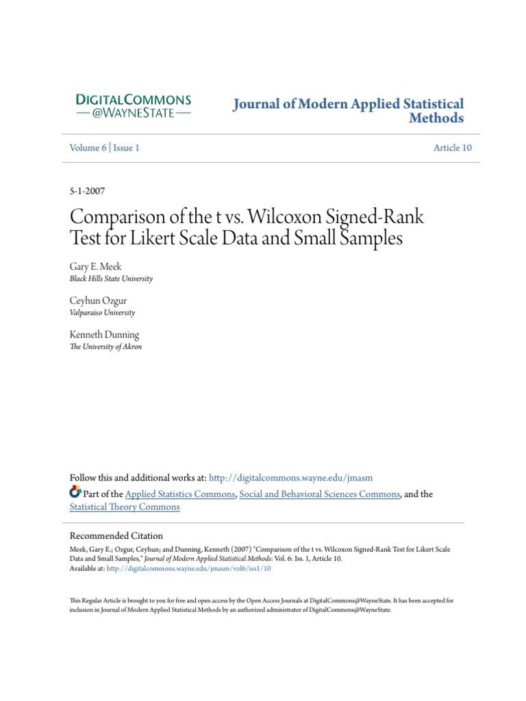 Comparison of t vs  Wilcoxon Signed Rank Test   Student's T