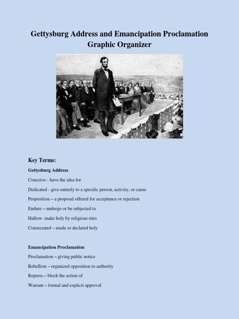 Gettysburg Address And Emancipation Proclamation Graphic Organizer Abraham Lincoln Politics Of The United States