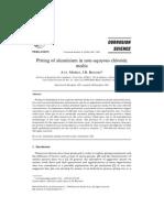 Pitting of aluminium in non-aqueous chloride media