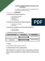 Criterios de Evaluación Del Primer Examen Del Segundo Curso de Primaria