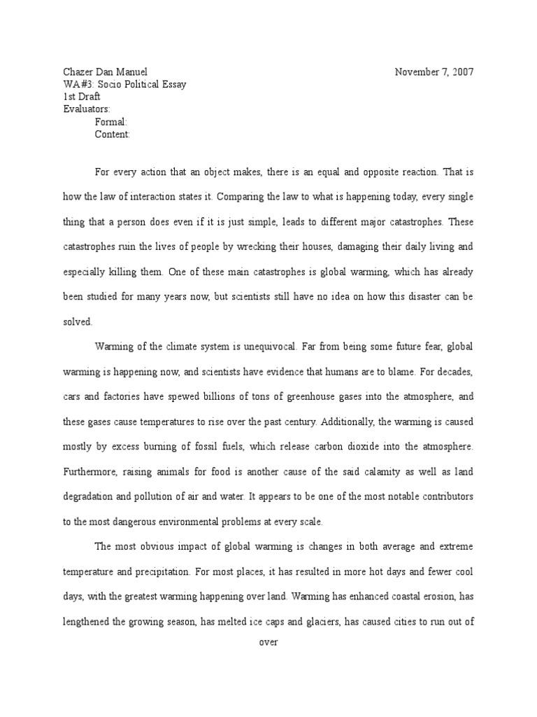 Socio political essay global warming climatology