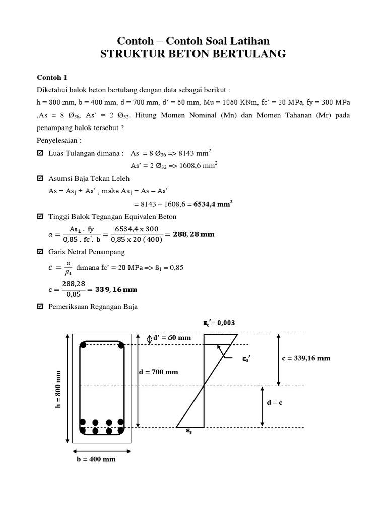 Contoh Soal Struktur Beton Bertulang 1 - Contoh Soal Terbaru