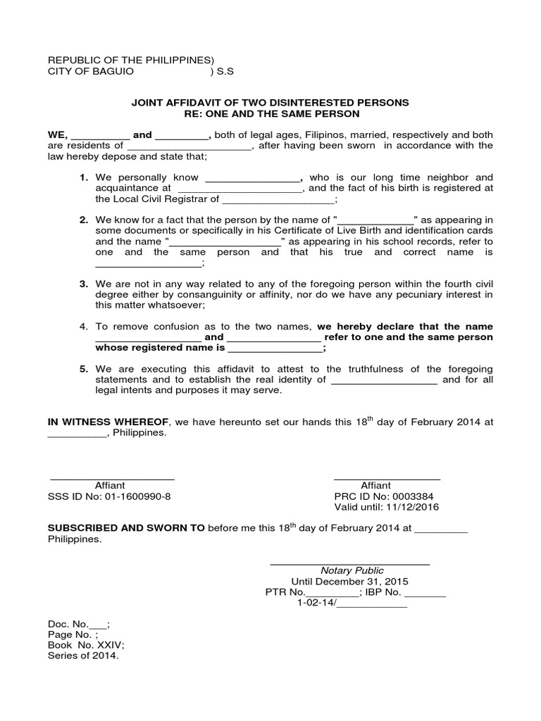 Joint Affidavit of Two Disinterested Persons One and the Same Person – Name Affidavit Form