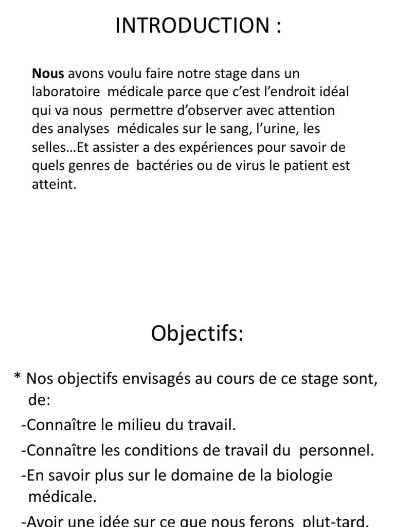 Ppt Rapport De Stage Les Analyses M 233 Dicales