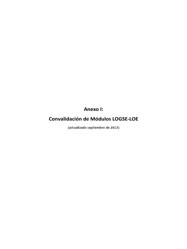 Convalidaciones Logse Loe