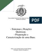 Sistemas e reações química; Preparação e caracterização de uma base.