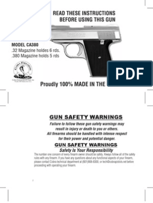 Cobra CA 32 380 Manual | Handgun | Magazine (Firearms)