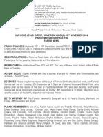 23rd November 2014 Parish Bulletin