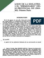 La Refutacion De La Idolatria Incaica En El Sermonario Del III Concilio Provincial de Lima - Primera Parte
