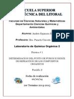 Practica 1 Indice de refracción Lab organica 2 ESPOL