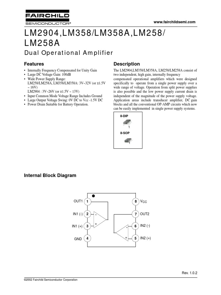 Datasheet Lm358 Operational Amplifier Electrical Engineering Single Power Supply Voltage And Circuit Diagrams