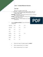 Worksheet Oxidation Reduction
