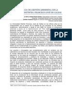 UNA EXPERIENCIA DE GESTIÓN AMBIENTAL EN LA UNIVERSIDAD DISTRITAL FRANCISCO JOSÉ DE CALDAS