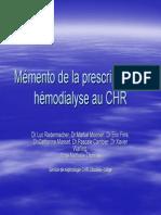 La Prescription en Hemodialyse