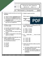Examen Del Talento 2010-II - 2011-I