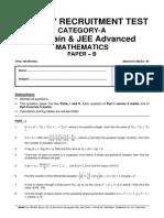 Cat-A Jee Main, Jee Advanced Maths Paper b