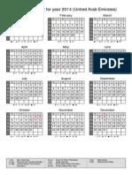 Calendar 2014-15 UAE