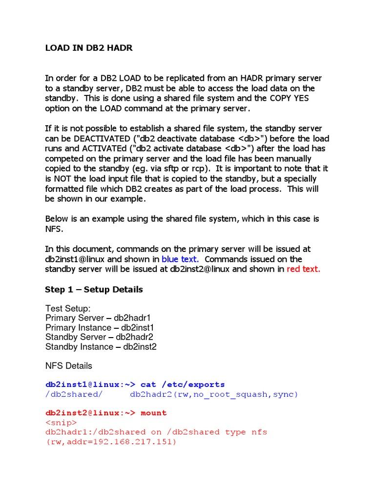 Load in Db2 Hadr | Ibm Db2 | File System