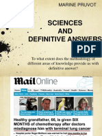 Tok Presentation Sciences and Definitive Answers