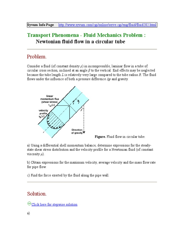 Transport Phenomena - Fluid Mechanics Problem (Newtonian Fluid Flow