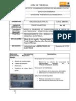 """Reporte de Instalaciones eléctricas """"TRANSFORMADORES"""""""