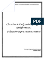Classicism in Early period of English Enlightenment. (Alexander Pope's creative activity)