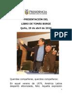 Presentacion Libro de Tomas Borge