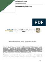 Convocatoria Al Programa de Maestr ¡a y Doctorado en Psicolog ¡a de La Unam 2015 1 (Agosto de 2014)