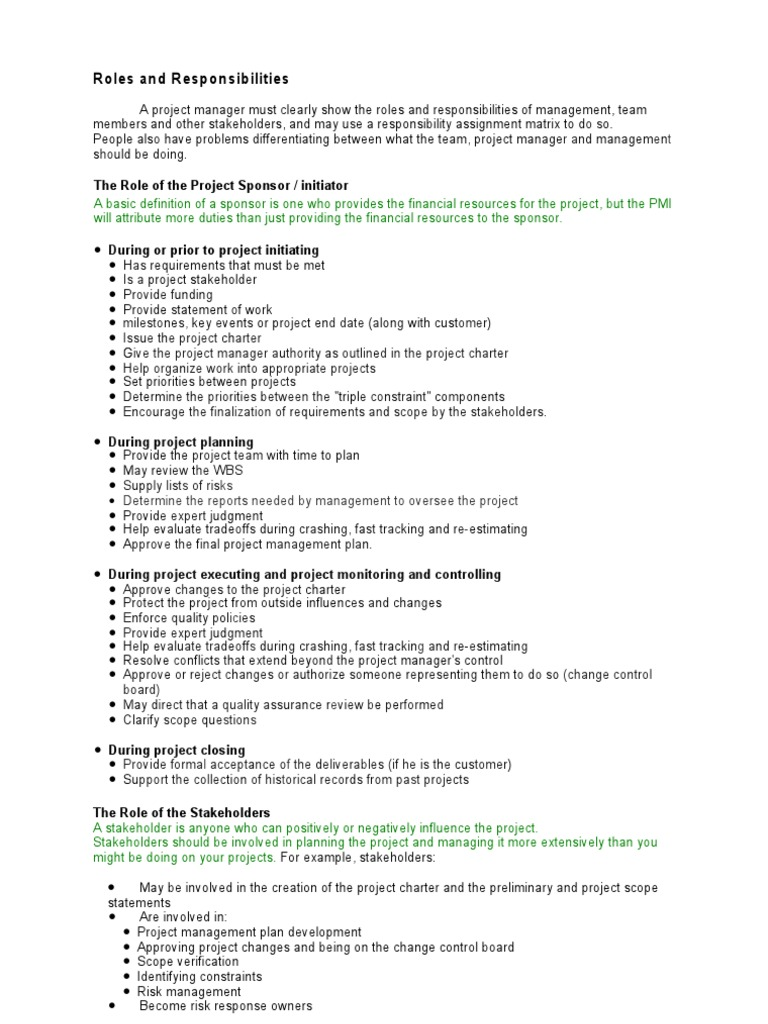 Roles and Responsibilities   Project Management   Business